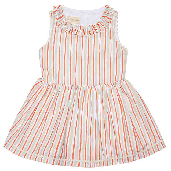 Coral Stripe Nancy Dress