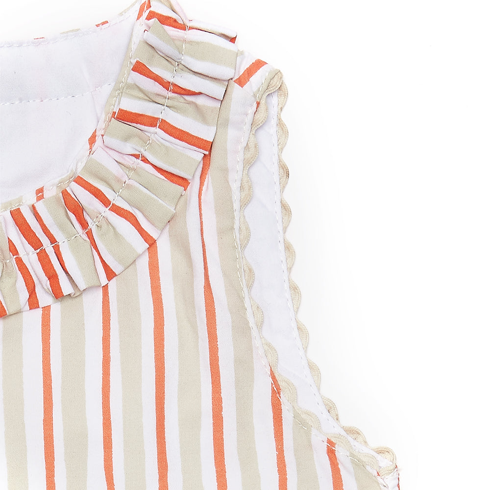 ****SPRING SAMPLE SALE****  Coral Stripe Nancy Dress