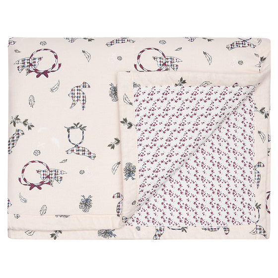 Children's Cot Bed Quilt Doves/ Burgundy Star