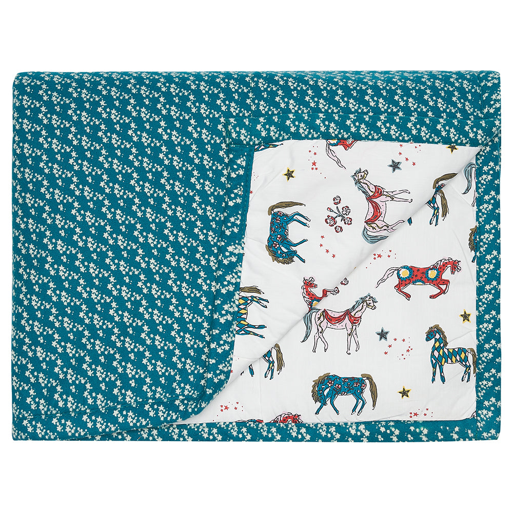 Children's Cot Bed Quilt Teal Star/ Horse
