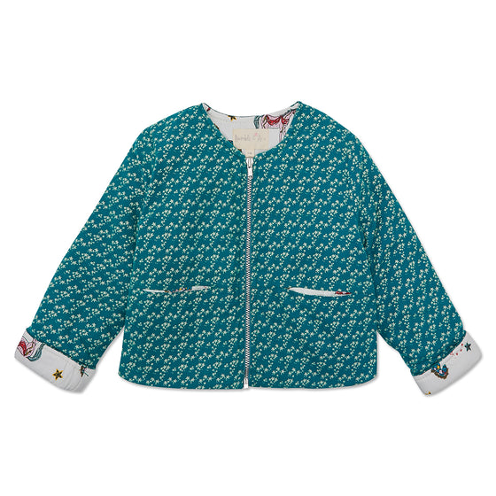 Teal Star Mia jacket with White Horse lining