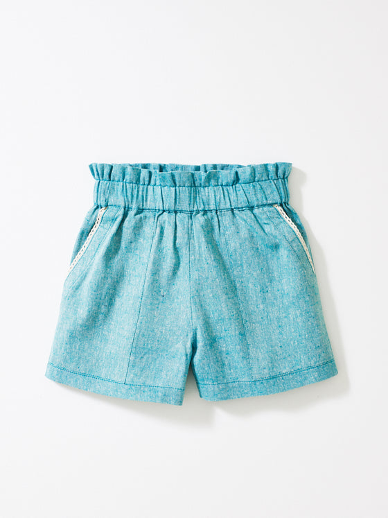 Teal Weave Girls Shorts