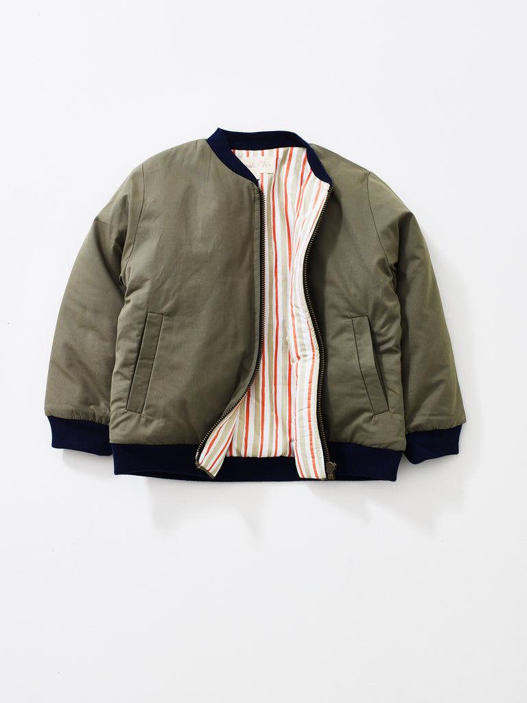 Khaki Bay Bomber Jacket with Coral Stripe Lining