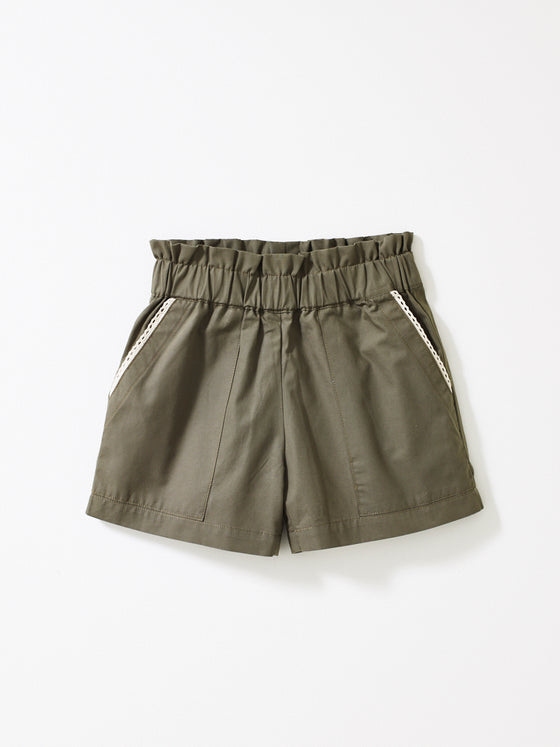 Khaki Green Girls Shorts
