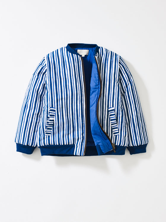 Teal Stripe Bay Bomber Jacket with Sea Blue Lining
