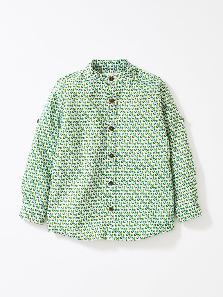 Green Pattern Boys Alfie Shirt