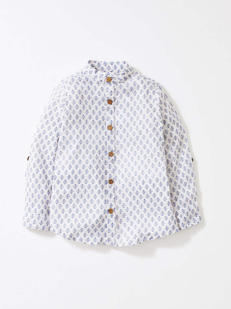 White / Grey Boys Alfie Shirt