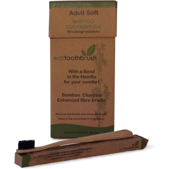 EcoToothbrush Adult Soft Bamboo Toothbrush 12 Pack with Charcoal Enhanced Bristles - Solander & Banks