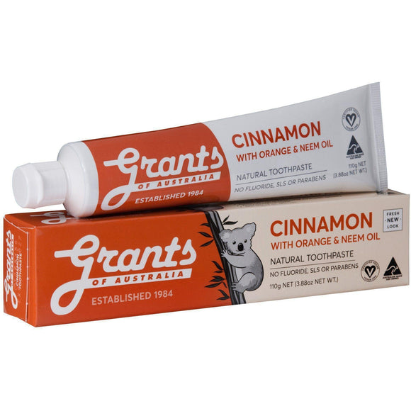 Grants of Australia Toothpaste Cinnamon Zest with Neem Oil 110g No Fluoride Natural - Solander & Banks
