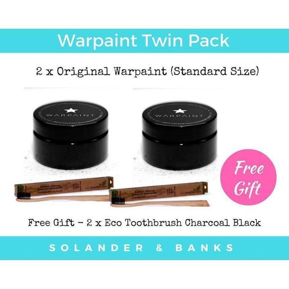Original Warpaint Twin Pack | 100% Natural Teeth Whitener Toothpaste Tub 150 Use - Solander & Banks