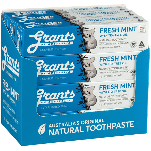 Grants of Australia Toothpaste 110g 12 Pack Fresh Mint with Tea Tree Oil No Fluoride - Solander & Banks