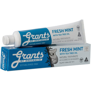 Grants of Australia Toothpaste Fresh Mint with Tea Tree Oil 110g No Fluoride Natural - Solander & Banks