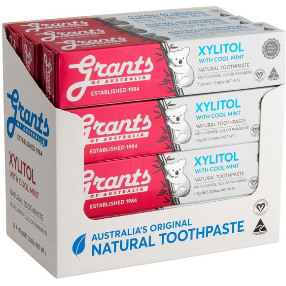 Grants of Australia Toothpaste 110g 12 Pack Xylitol with Mild Mint No Fluoride - Solander & Banks