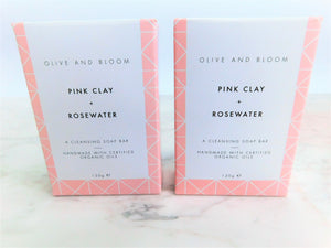 Pink Clay + Rose Water Soap Duo