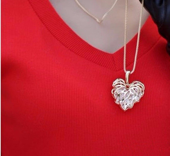 Chain-Hollow-Heart-Pendants-Necklaces-Gold-Silver-Plated-Crystal-Maple-Leaf