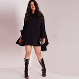Flare Sleeve Black Dress, Plus size dresses, black dresses, kanndie, date night dress