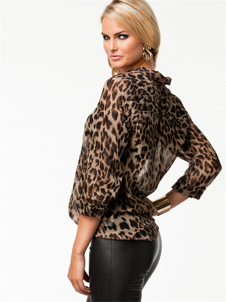 Leopard Print Shirt, Office Wear, Leopard Print Blouse