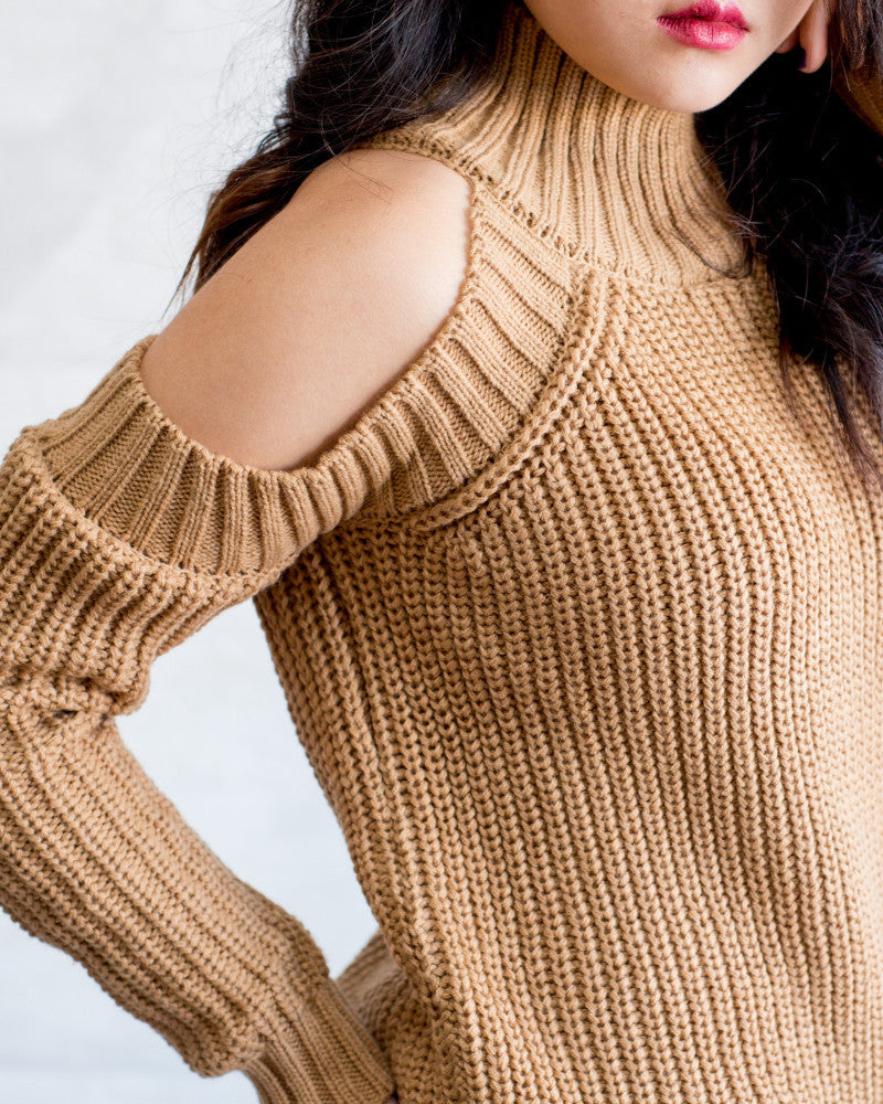 Off The Shoulder Solid Sweater