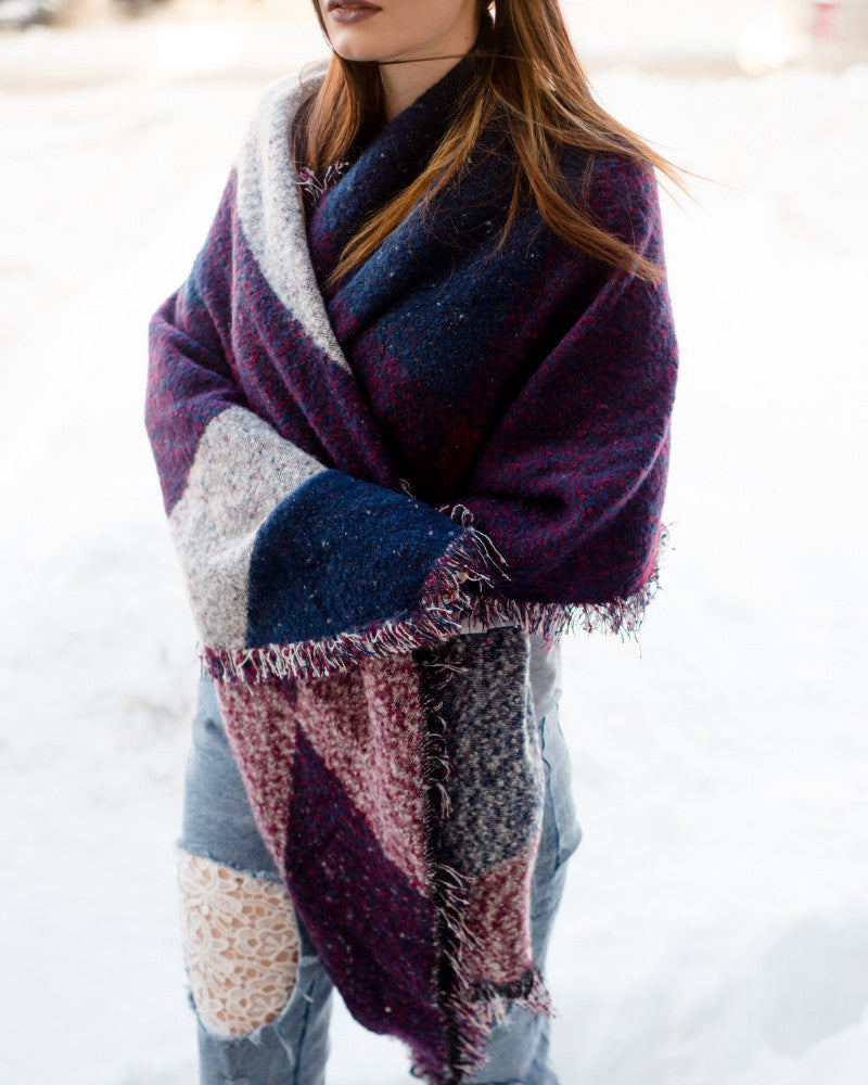 Plaid Fringed Wool Scarf