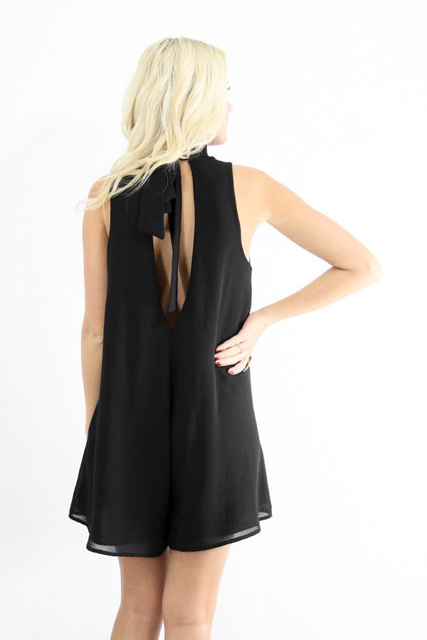 Sleeveless Solid Black Sexy Skirt Style Jumpsuit
