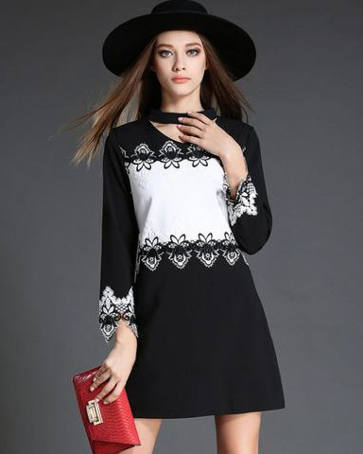 Lace Patchwork Mini Dress