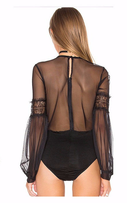 Lantern-Sleeve-Hollow-Out-Bodysuit-Sexy-Solid-Black-Vintage-Jumpsuits-Sheer-Kanndie-See-Through-Lace-Bodysuit-Tulle-Patchwork-Playsuit