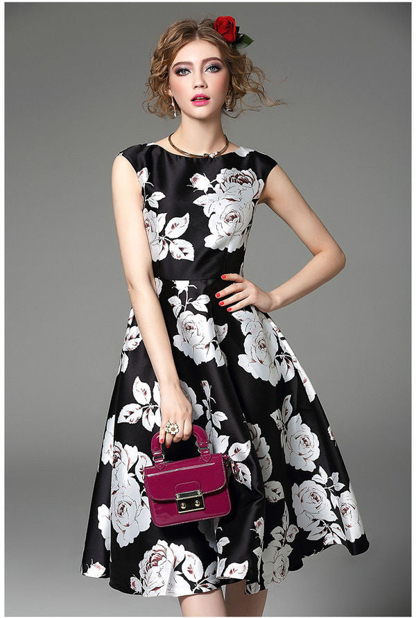Retro Vintage Rose Print Dress
