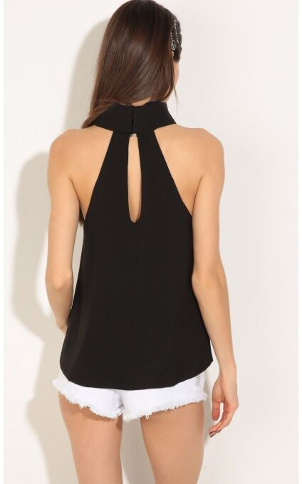 Asymmetrical Black Sleeveless Tank