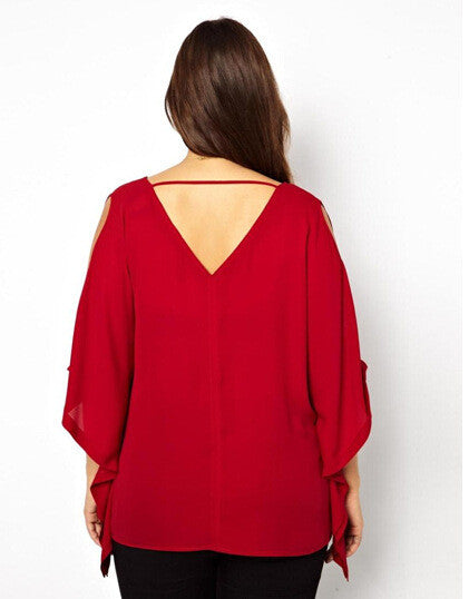 Cold shoulder batwing top, plus size tops, tops