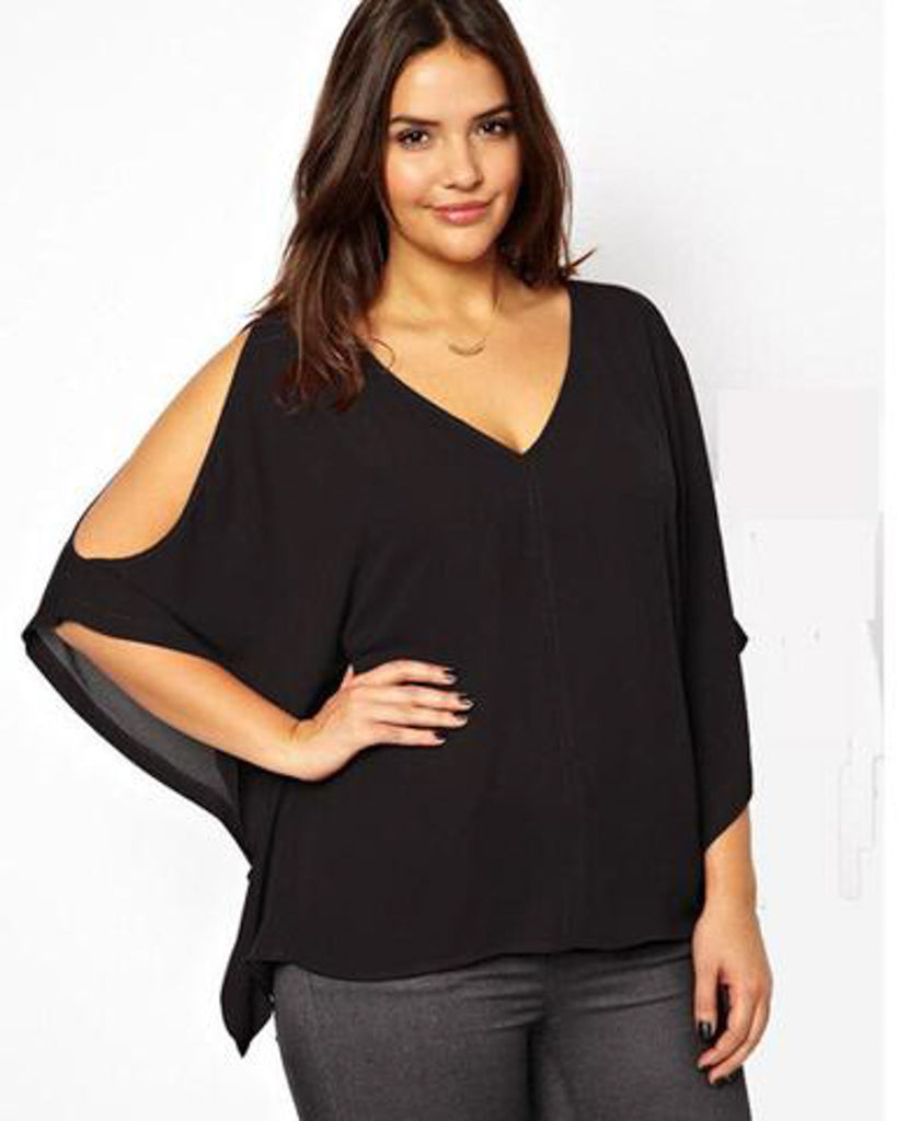 Batwing Cut Out Sleeve Blouse