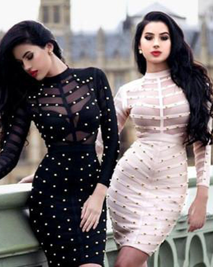 Mesh Studded Bodycon Dress
