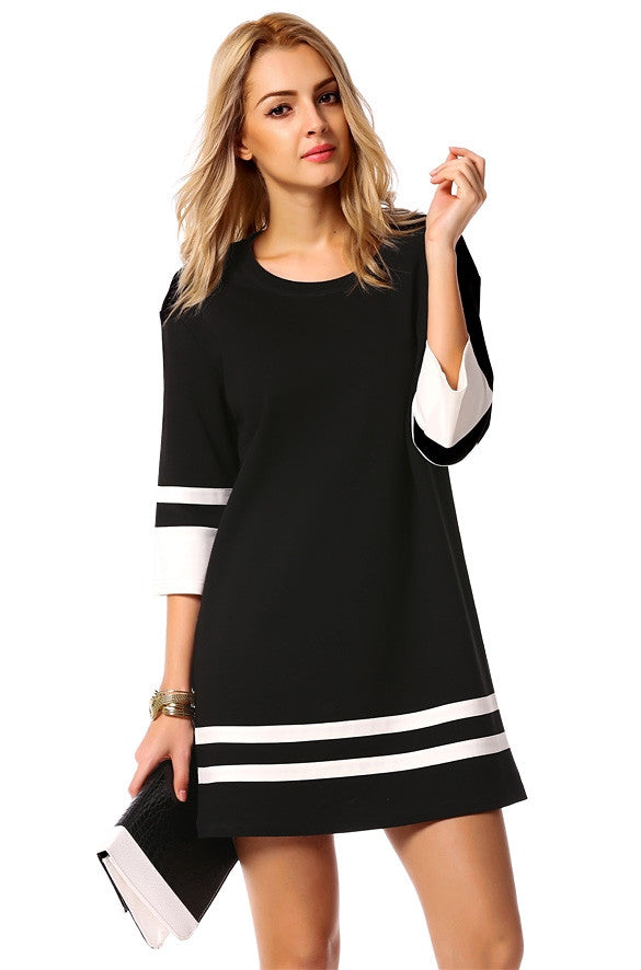 Striped Dress, 3/4 sleeves dress
