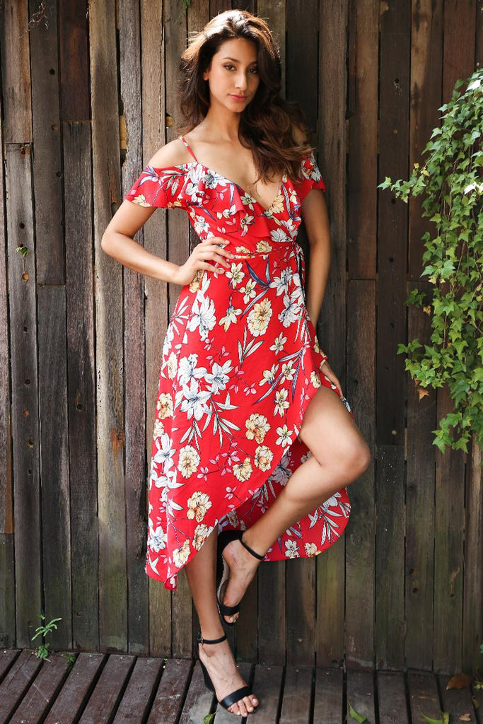 be0a7e94b348 Red Print Floral Summer Dress – Kanndie