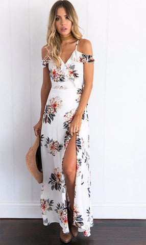 b5b58ed7ac4 White Floral Print Summer Maxi Dress.  32.00. Front V Plunge Solid ...