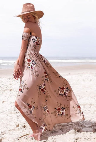 d7d3832c57e1 Off the shoulders summer dress.  22.00. White Floral Print Summer Maxi Dress