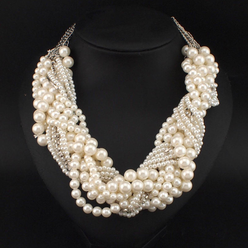 Handmade Chunky Simulated Pearl Necklace