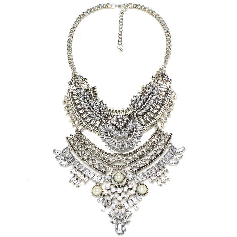 Silver Tone Coin Multi Layer Bib Necklace