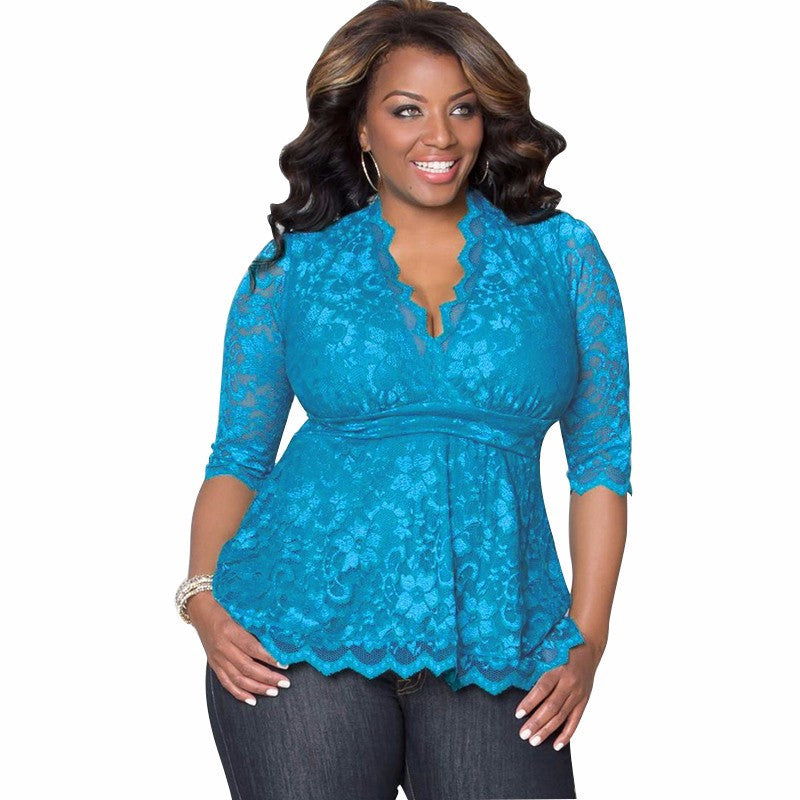 V-Neck lace Blouse, plus size top, lace plus size top, tops