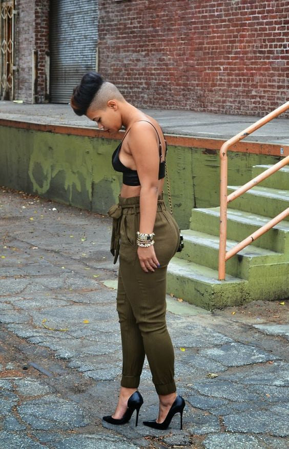 High Waist Army Green Pants