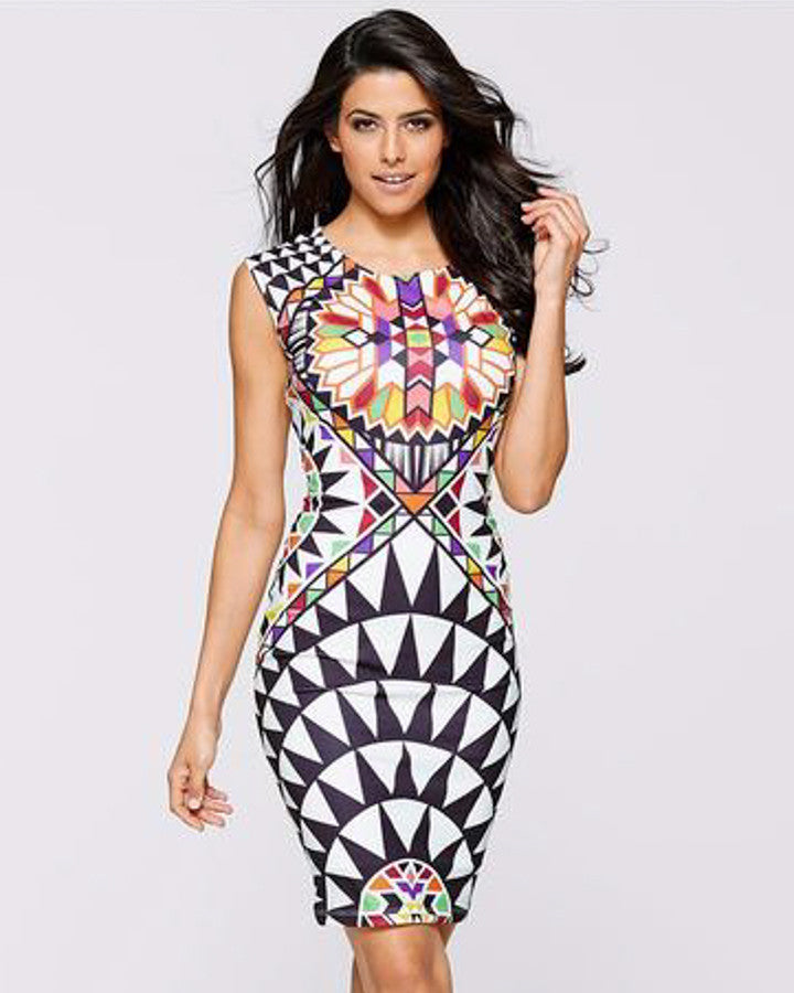 Print Sleeveless Sheath Dress