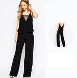 V-Neck Lace Matching Women Jumpsuit