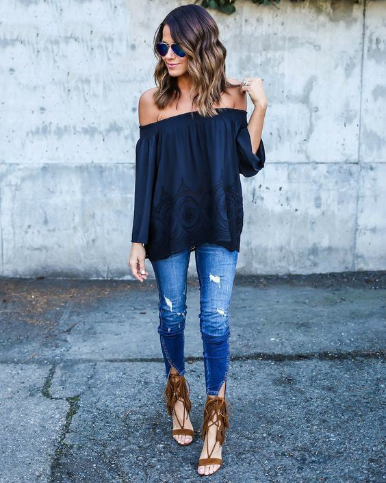 Slash Neck Loose Fit Top