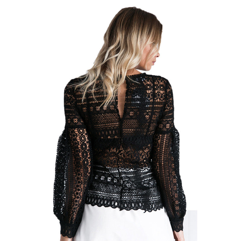 Lace Lantern Sleeve Top, Tops, Lace Tops