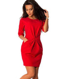 O-Neck Half Sleeved Bodycon Dress