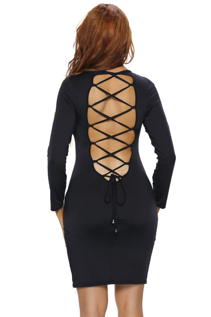 Backless lace up bodycon dress, Back lace up dress, Sexy Bodycon Dress, Date Night Dress