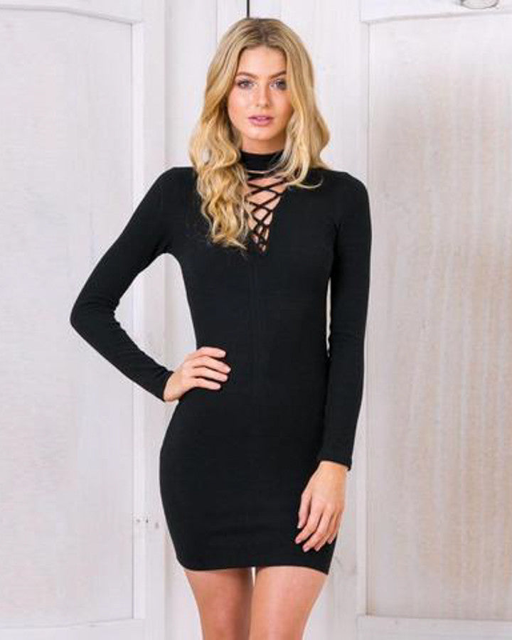 Lace Up Bodycon Mini Dress