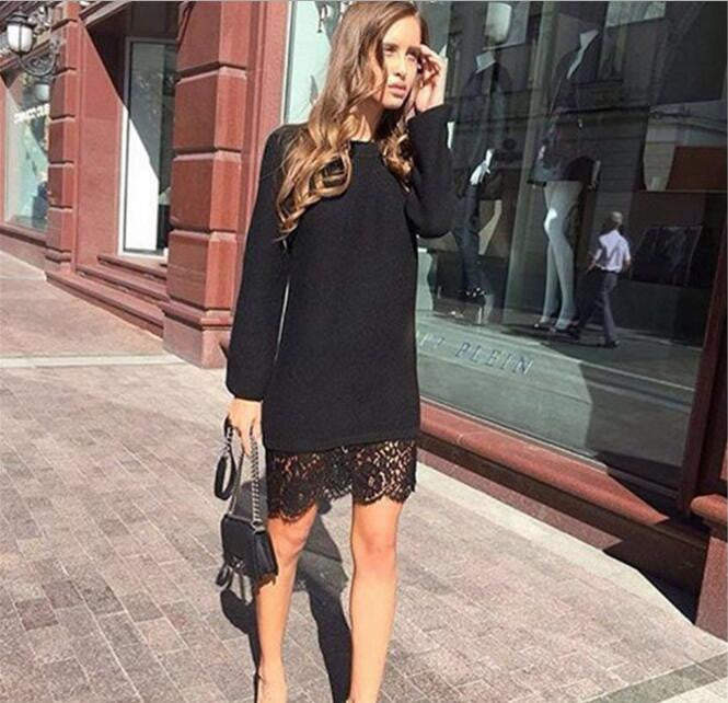 Lace Patchwork Knitted Dress, Casual Dress, Lace Dress, Black Dress, Little Black Dress, White Dress