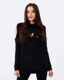 Cold shoulder Ribbed Bandage Knitted Top
