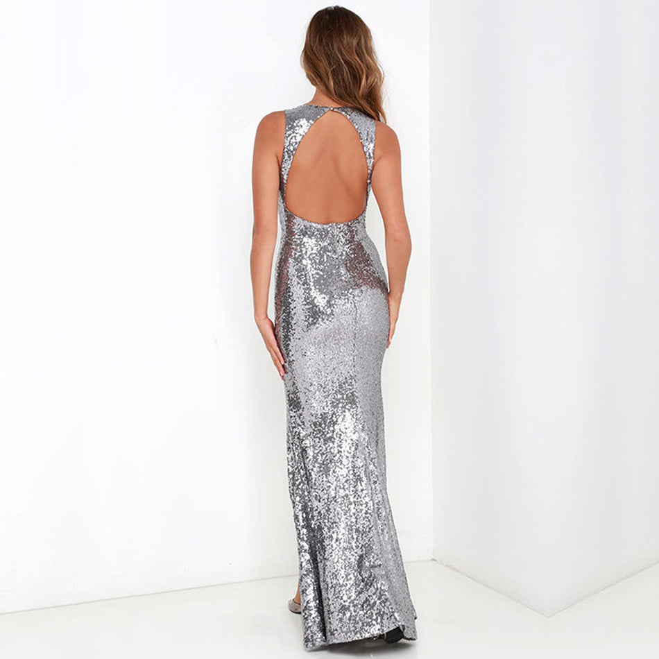 294d6e8e ... Silver Sequin Maxi Gown, Prom Dress, Party Dress, Sequin Party Gown ...