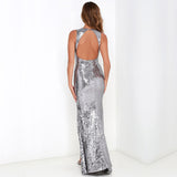 Silver Sequin Maxi Gown, Prom Dress, Party Dress, Sequin Party Gown